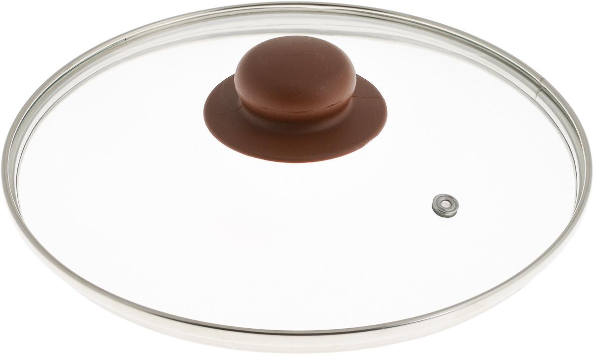 Крышка NaturePan, с металлическим ободом, цвет: коричневый, прозрачный. Диаметр 22 смЛ4892Крышка NaturePan, изготовленная из жаропрочного стекла, оснащена металлическим ободом, пластиковой ручкой и отверстием для выпуска пара. Окантовка предохраняет от механических повреждений. Изделие удобно в использовании и позволяет контролировать процесс приготовления пищи.Можно мыть в посудомоечной машине.Диаметр крышки: 22 см.Диаметр ручки: 4,5 см.Высота ручки: 2,5 см.
