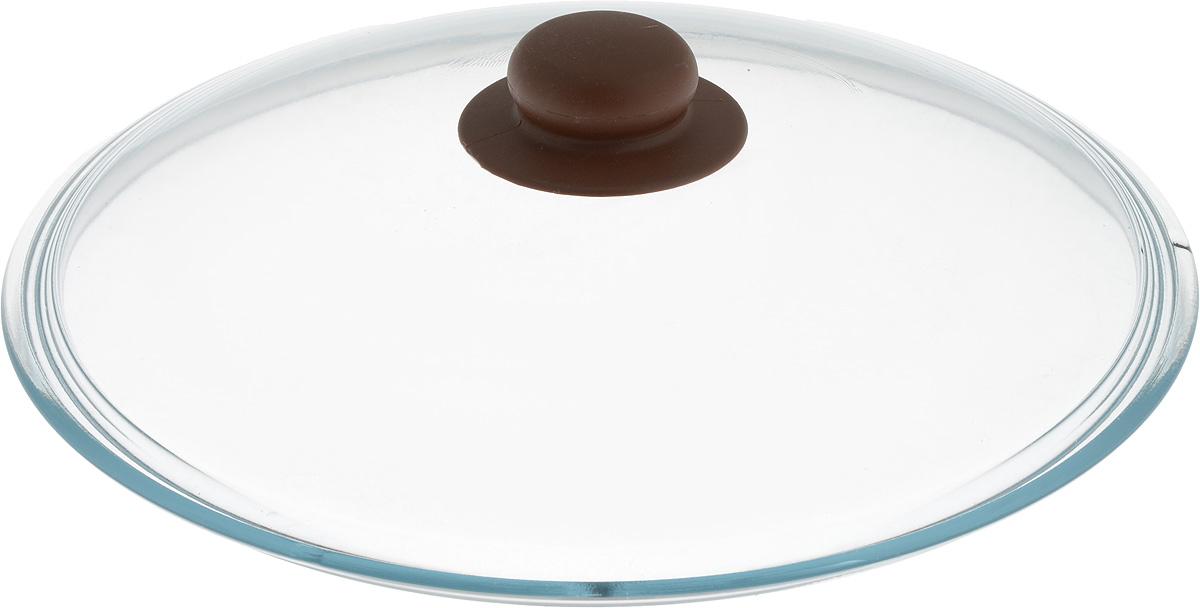 Крышка NaturePan, цвет: коричневый, прозрачный. Диаметр 28 см391602Крышка NaturePan изготовлена из термостойкого и экологически чистого стекла с пластиковой ручкой. Изделие удобно в использовании и позволяет контролировать процесс приготовления пищи.Можно мыть в посудомоечной машине. Диаметр крышки: 28 см.Диаметр ручки: 4,5 см.Высота ручки: 2,5 см.
