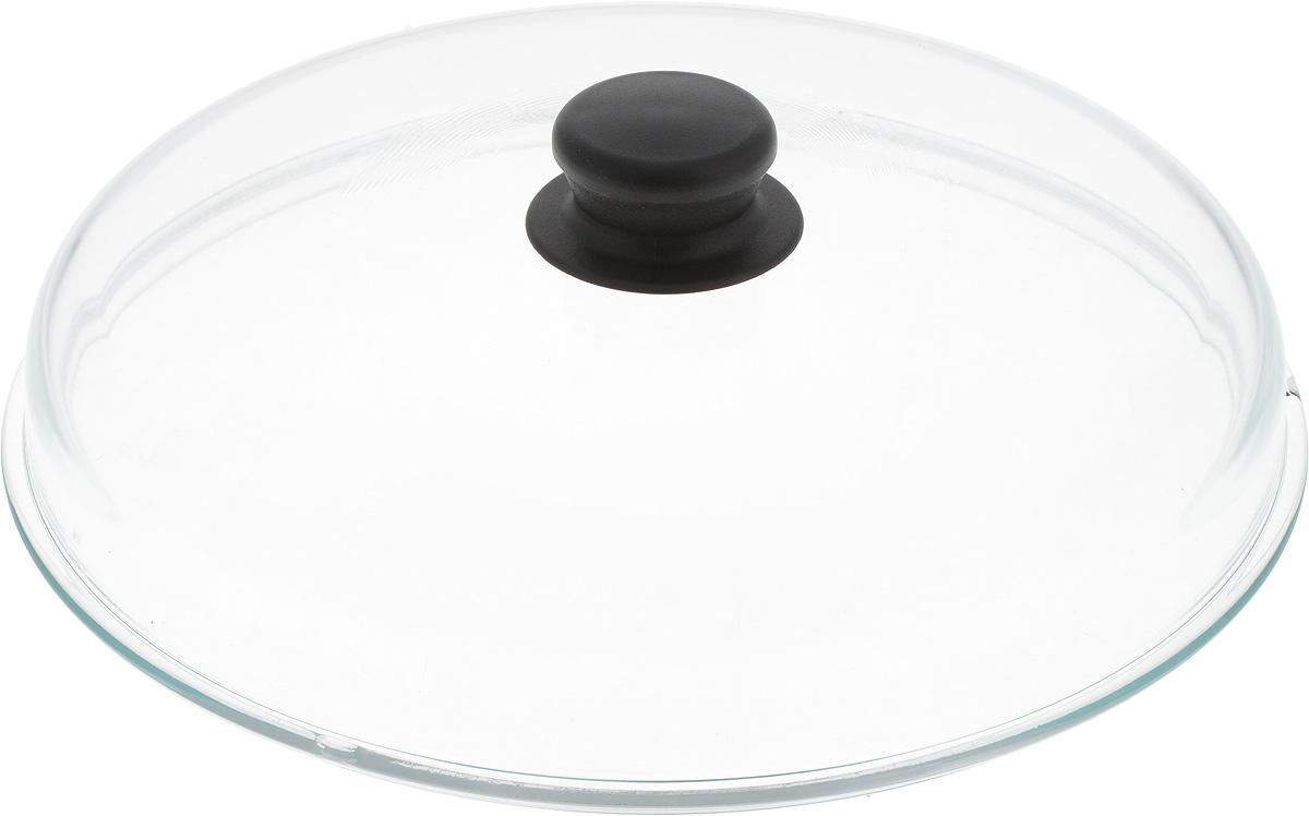 """Крышка """"NaturePan"""", высокая, цвет: прозрачный, черный. Диаметр 28 см. Л3076"""