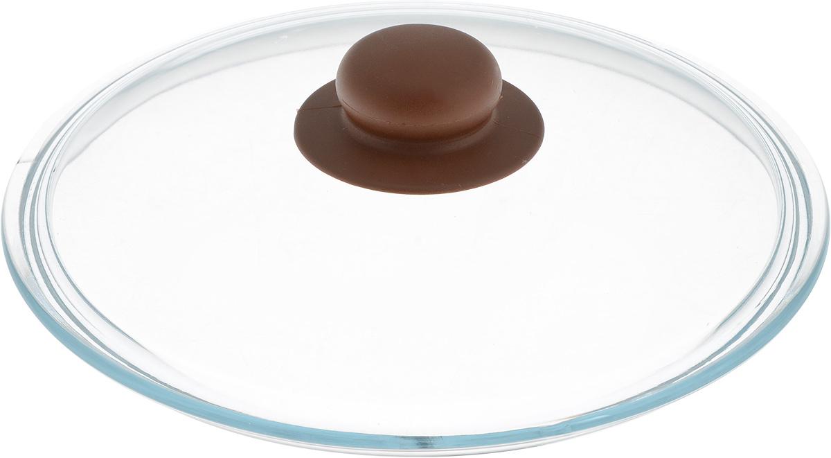 Крышка NaturePan, цвет: коричневый, прозрачный. Диаметр 22 см115510Крышка NaturePan изготовлена из термостойкого и экологически чистого стекла с пластиковой ручкой. Изделие удобно в использовании и позволяет контролировать процесс приготовления пищи.Можно мыть в посудомоечной машине. Диаметр крышки: 22 см.Диаметр ручки: 4,5 см.Высота ручки: 2,5 см.
