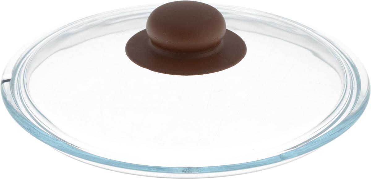 Крышка NaturePan, цвет: коричневый, прозрачный. Диаметр 20 см115510Крышка NaturePan изготовлена из термостойкого и экологически чистого стекла с пластиковой ручкой. Изделие удобно в использовании и позволяет контролировать процесс приготовления пищи.Можно мыть в посудомоечной машине. Диаметр крышки: 20 см.Диаметр ручки: 4,5 см.Высота ручки: 2,5 см.