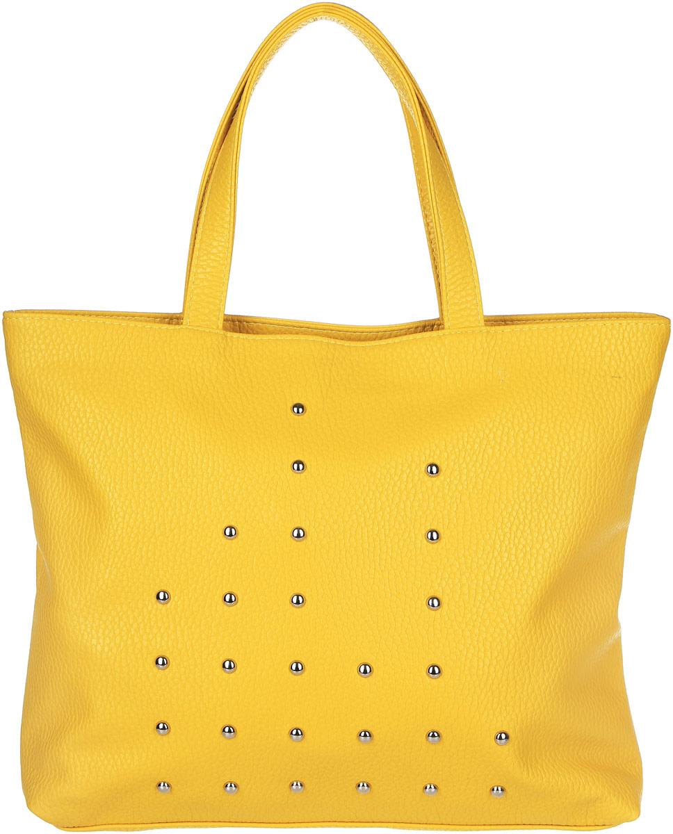 Сумка женская Медведково, цвет: желтый. 17с3275-к144106черныеВместительная женская сумка Медведково исполнена из экокожи высокого качества зернистой текстуры и оформлена металлическими полусферами по периметру фасада. Имеет одно просторное отделение. В отделении присутствуют один прорезной карман на застежке-молнии и два накладных кармашка под сотовый телефон или для мелочей. Снаружи, на задней стенке сумки так же имеется прорезной карман на молнии для быстрого доступа к часто используемым вещам. Сумка обладает двумя удобными для переноски ручками. С такой сумкой можно комфортно и элегантно отправляться за покупками. Благодаря вместительному отделению без разделителей в сумку могут помещаться вещи различных габаритов, что очень практично.