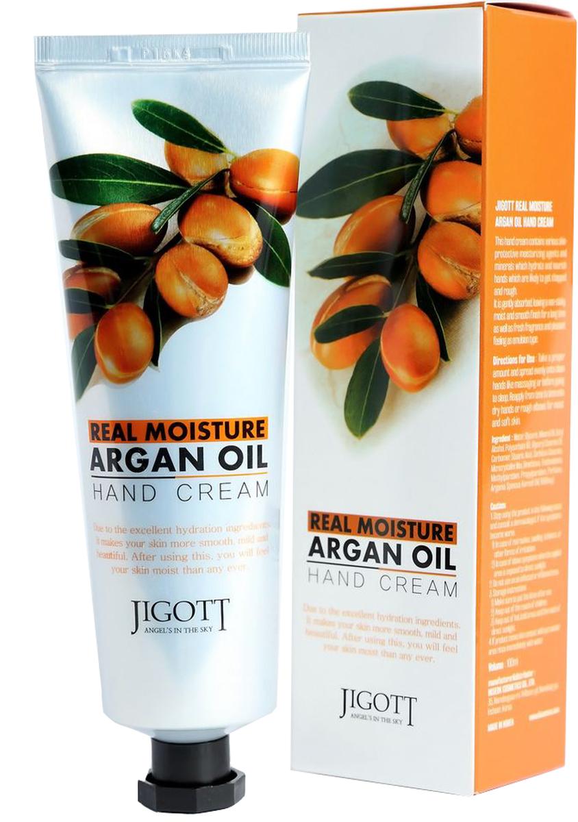 Jigott, Real Moisture крем для рук с аргановым маслом, 100 г8809344970343Увлажняющий крем для рук с аргановым маслом содержит комплекс растительных экстрактов и минералов, интенсивно увлажняющих и питающих сухую, огрубевшую кожу рук. Крем мгновенно впитывается, увлажняет кожу, предотвращает потерю влаги и не оставляет ощущения липкости. Аргановое масло насыщает кожу питательными веществами, увлажняет, предотвращает шелушение кожи, защищает от обветривания. Кожа рук становится нежной, гладкой и бархатистой.