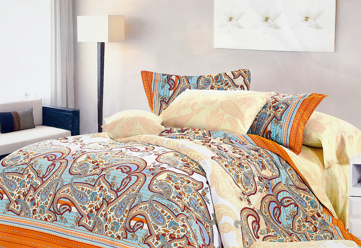 Комплект белья МарТекс Соната, 1,5-спальный, наволочки 50х70, цвет: бежевый, бирюзовый, оранжевый6221CКомплект постельного белья МарТекс Соната состоит из пододеяльника, простыни и двух наволочек и изготовлен из качественного сатина. Постельное белье оформлено оригинальным ярким рисунком и имеет изысканный внешний вид. Сатин - вид ткани, произведенный из натурального хлопка. Материал имеет все свойства хлопка: не аллергенен, прочен, почти не мнется и хорошо гладится. Благодаря натуральному хлопку, постельное белье приобретает способность пропускать воздух, давая возможность телу дышать. Приобретая комплект постельного белья МарТекс, вы можете быть уверенны в том, что покупка доставит вам и вашим близким удовольствие и подарит максимальный комфорт.