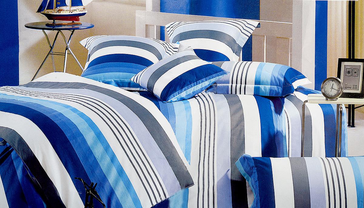 Комплект белья МарТекс Лагуна, 2-спальный, наволочки 70х70, цвет: синий, белый, серыйS03301004Комплект постельного белья МарТекс Лагуна состоит из пододеяльника, простыни и двух наволочек и изготовлен из качественного сатина. Постельное белье оформлено оригинальным ярким рисунком и имеет изысканный внешний вид. Сатин - вид ткани, произведенный из натурального хлопка. Материал имеет все свойства хлопка: не аллергенен, прочен, почти не мнется и хорошо гладится. Благодаря натуральному хлопку, постельное белье приобретает способность пропускать воздух, давая возможность телу дышать. Приобретая комплект постельного белья МарТекс, вы можете быть уверенны в том, что покупка доставит вам и вашим близким удовольствие и подарит максимальный комфорт.