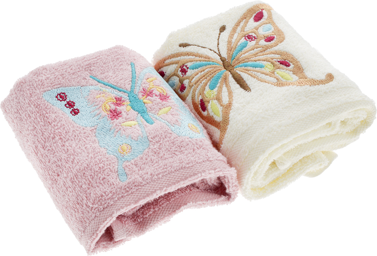 Набор кухонных полотенец Karna Moron, цвет: молочный, розовый, 30 х 50 см, 2 штCLP446Набор Karna Moron состоит из двух махровых кухонных полотенец, выполненных из натурального экологически чистого хлопка. Полотенца оформлены яркой вышивкой в виде бабочки.Наборы кухонных полотенец Karna  идеально дополнят интерьер вашей кухни и создадут атмосферу уюта и комфорта. Вы сможете подобрать изысканные полотенца и наборы, стильные скатерти.