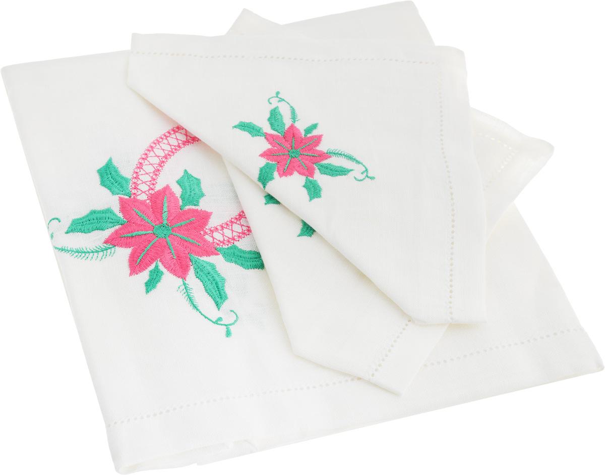 Комплект столового белья Гаврилов-Ямский Лен Ярко-розовый цветок, цвет: белый, розовый, зеленый, 5 предметовFA-5125 WhiteКомплект столового белья Гаврилов-Ямский Лен Ярко-розовый цветок состоит из скатерти и 4 салфеток, изготовленных из 100% льна. Такой комплект станет отличным украшением интерьера столовой или кухни и придаст праздничный вид вашему обеденному столу. Изделия оформлены красивой вышивкой и ажурным краем, обладают плотной текстурой, высокой износостойкостью и прочностью. Лен - поистине уникальный природный материал, который отличается высокой экологичностью. Скатерти из натурального льна придадут вашему дому уют и тепло натурального материала. Размер скатерти: 100 х 100 см. Размер салфетки: 35 x 35 см.