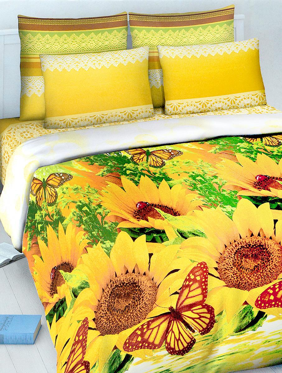Комплект белья МарТекс, евро, наволочки 70х70, цвет: желтый, зеленый, коричневыйCLP446Комплект постельного белья МарТекс состоит из пододеяльника, простыни и двух наволочек. Постельное белье оформлено оригинальным ярким рисунком и имеет изысканный внешний вид.Комплект изготовлен из качественной хлопчатобумажной бязи. Поверхность материи - ровная и матовая на вид, одинаковая с обеих сторон. Ткань экологична, гипоаллергенна, износостойка. Это отличный материал для постельного белья.