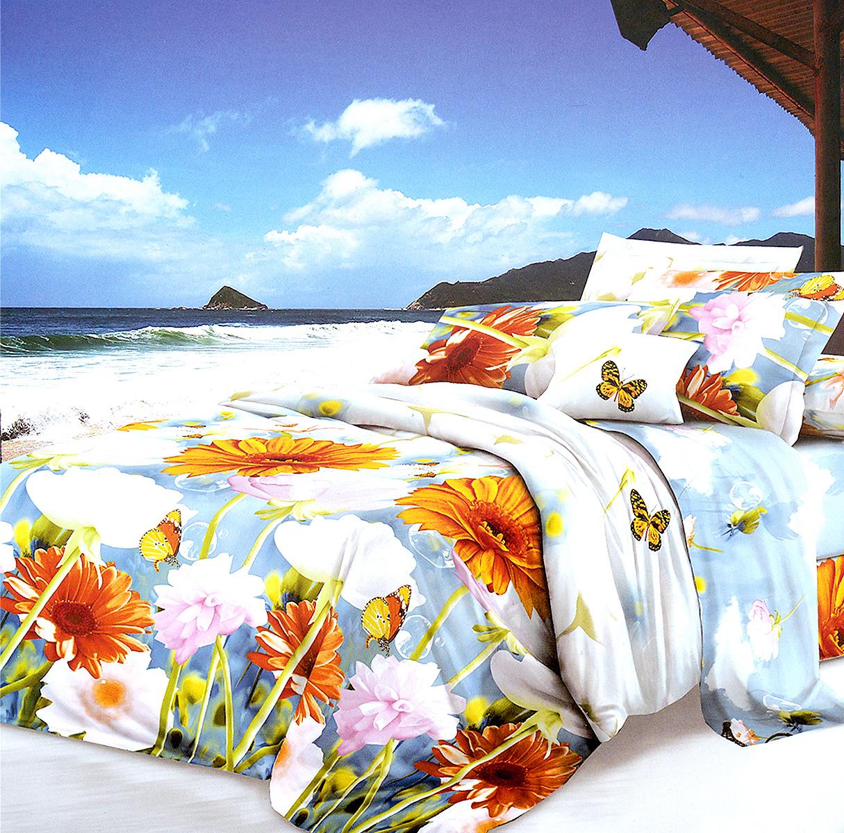 Комплект белья МарТекс, 2-спальный, наволочки 70х70, цвет: голубой, оранжевый391602Комплект постельного белья МарТекс состоит из пододеяльника, простыни и двух наволочек. Постельное белье оформлено оригинальным ярким рисунком и имеет изысканный внешний вид.Комплект изготовлен из качественной микрофибры. Микроволокно обладает высокой устойчивостью, у него богатая палитра ярких оттенков, эта ткань полностью поддается стирке.Такая ткань рассчитана на 200 стирок и более. Микрофибра представляет собой ткань из полиэфирного волокна. В ее состав входят микронити, которые и обеспечивают материалу максимальную прочность, а также дышащую способность.Приобретая комплект постельного белья МарТекс, вы можете быть уверенны в том, что покупка доставит вам и вашим близким удовольствие и подарит максимальный комфорт.