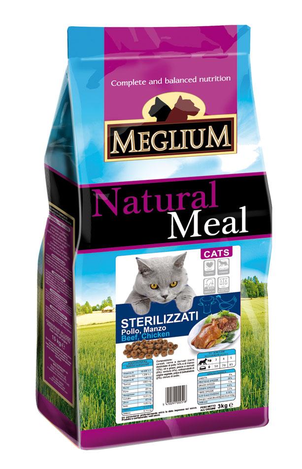 Корм сухой Meglium Neutered, для стерилизованных кошек, с рыбой и курицей, 3 кг. 6400064000Сухой корм Meglium Neutered - это полноценный, сбалансированный и очень вкусный корм для взрослых стерилизованных кошек. Надлежащее сочетание куриного мяса, говядины и рыбы обеспечивает нужный набор аминокислот, Омега-3 жирных кислот, содержащихся в рыбе, сбалансированное количество минералов и оптимальную дозу клетчатки и таурина, благодаря чему корм Meglium Cat Neutered подходит для удовлетворения пищевых потребностей стерилизованных кошек.Товар сертифицирован.Уважаемые клиенты! Обращаем ваше внимание на то, что упаковка может иметь несколько видов дизайна. Поставка осуществляется в зависимости от наличия на складе.