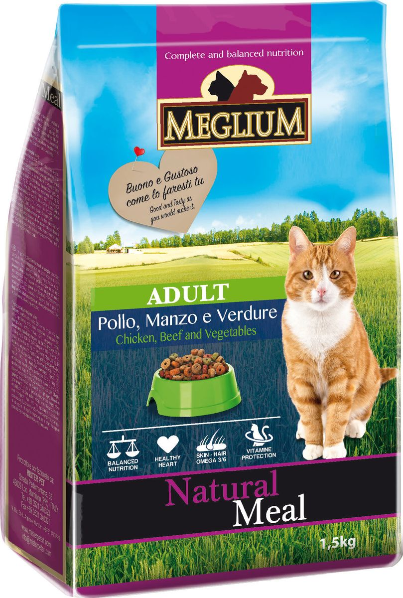 Корм сухой Meglium Adult для кошек, говядина курица овощи, 1,5 кг12171996Состав: дегидрированное мясо (35%, из которого куриного мяса 14% и говядины 10%), кукуруза, пшеница, куриный жир, рыбная мука (5%), овощи (4%), сушеная мякоть свеклы (2%), минеральные вещества. Пищевые добавки на кг: Витамин A 18000 UI, Витамин D3 1200 UI, Витамин E 145 мг, E4 пентагидрат сульфата меди 55 мг, E1 карбонат железа 58 мг, E5 оксид марганца 73 мг, E6 моногидрат сульфата цинка 173 мг, E2 йодистый калий 1,4 мг, E8 селенит натрия 0,31 мг, таурин 1000 мг.Аналитические компоненты: влага 8%, сырой белок 28%, сырые масла и жиры 11%, сырая зола 8,1%, сырая клетчатка 2,5%, жирные кислоты Омега-3 0,19%, жирные кислоты Омега-6 2,6%.Энергетическая ценность: 3500 кКал/кг.
