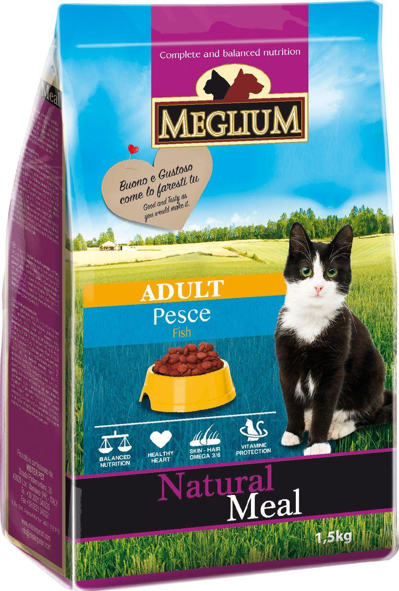 Корм сухой Meglium Adult для кошек с чувствительным пищеварением, рыба, 1,5 кг0120710Состав: кукуруза, дегидрированное мясо (24%), рыбная мука (14%), пшеница, куриный жир, сушеная мякоть свеклы (2%), минеральные вещества. Пищевые добавки на кг: 3a672a Витамин A 18000 UI, Витамин D3 1200 UI, 3a700 Витамин E 145 мг, E4 пентагидрат сульфата меди 55 мг, E1 карбонат железа 58 мг, E5 оксид марганца 73 мг, E6 моногидрат сульфата цинка 173 мг, E2 йодистый калий 1,4 мг, E8 селенит натрия 0,31 мг, таурин 1000 мг. Аналитические компоненты: влага 8%, сырой белок 28%, сырые масла и жиры 11%, сырая зола 8,1%, сырая клетчатка 2,5%, жирные кислоты Омега-3 0,21%, жирные кислоты Омега-6 2,6%. Энергетическая ценность: 3500 кКал/кг.