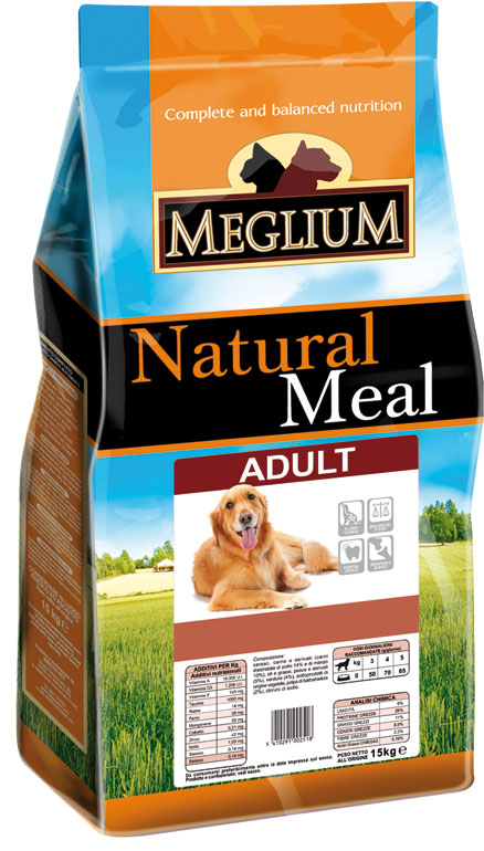 Корм сухой Meglium Adult для взрослых собак, 3 кг0120710Состав: кукуруза, дегидрированное мясо (25%), пшеница, куриный жир, сушеная мякоть цикория (2%), минеральные вещества. Пищевые добавки на кг: 3a672a Витамин A 9000 UI, Витамин D3 600 UI, 3a700 Витамин E 75 мг, E4 пентагидрат сульфата меди 32 мг, E1 карбонат железа 33 мг, E5 оксид марганца 42 мг, E6 моногидрат сульфата цинка 99 мг, E2 йодистый калий 0,8 мг, E8 селенит натрия 0,18 мг. Аналитические компоненты: Влага 8%, сырой белок 23%, сырые масла и жиры 9%, сырая зола 9,3%, сырая клетчатка 3%, соотношение кальций/фосфор 1,3:1.Энергетическая ценность: 3300 кКал/кг.