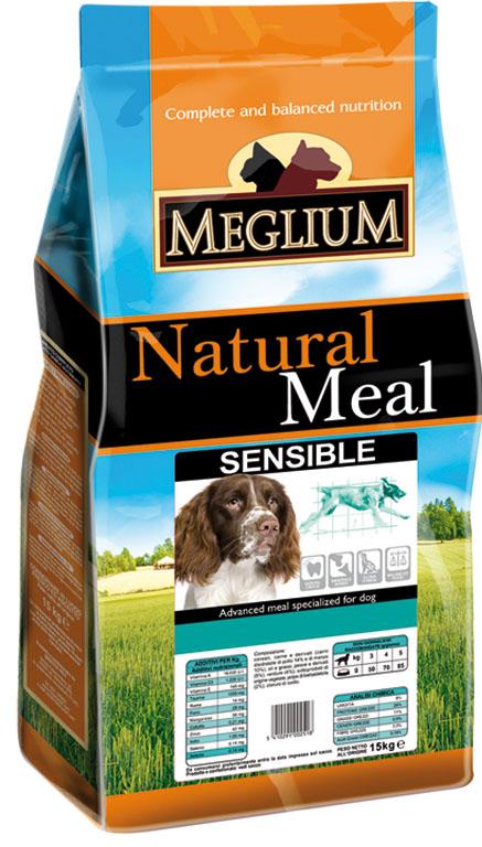 Корм сухой Meglium Sensible для взрослых собак с чувствительным пищеварением, 3 кг0120710Состав: дегидрированное мясо (30%, из которого баранина 8%), кукуруза, рис (15%), пшеница, кукурузная мука, куриный жир, сушеная мякоть свеклы (2%), дрожжи, минеральные вещества. Пищевые добавки на кг: 3a672a Витамин A 13500 UI, Витамин D3 950 UI, 3a700 Витамин E 115 мг, E4 пентагидрат сульфата меди 47 мг, E1 карбонат железа 50 мг, E5 оксид марганца 62 мг, E6 моногидрат сульфата цинка 148 мг, E2 йодистый калий 1,2 мг, E8 селенит натрия 0,264 мг. Аналитические компоненты: влага 8%, сырой белок 23%, сырые масла и жиры 14%, сырая зола 7,4%, сырая клетчатка 2,6%.Энергетическая ценность: 3600 кКал/кг.