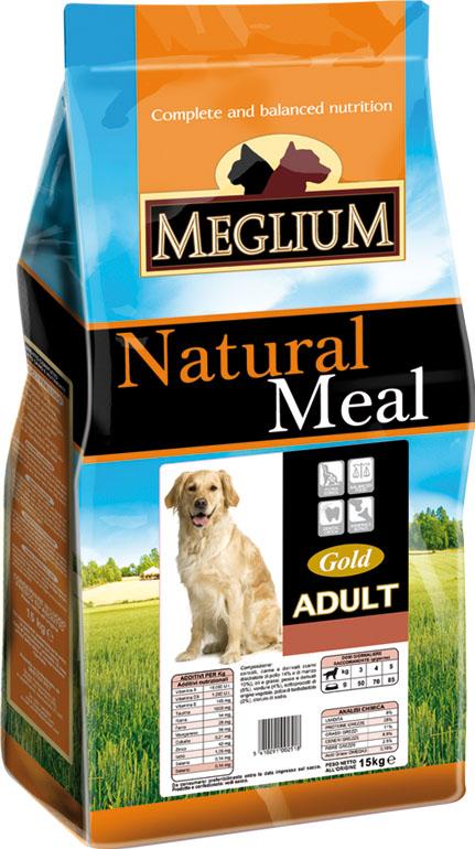 Корм сухой Meglium Adult Gold для взрослых собак, 15кг64014Состав: дегидрированное мясо (31%, из которого говядины 16% и куриного мяса 15%), кукуруза, пшеница, кукурузная мука, куриный жир, сушеная мякоть цикория (2%), минеральные вещества. Пищевые добавки на кг: 3a672a Витамин A 11250 UI, Витамин D3 800 UI, 3a700 Витамин E 95 мг, E4 пентагидрат сульфата меди 40 мг, E1 карбонат железа 42 мг, E5 оксид марганца 52 мг, E6 моногидрат сульфата цинка 124 мг, E2 йодистый калий 1 мг, E8 селенит натрия 0,22 мг. Аналитические компоненты: влага 8%, сырой белок 24%, сырые масла и жиры 12%, сырая зола 8,5%, сырая клетчатка 2,6%, соотношение кальций/фосфор 1,4:1.Энергетическая ценность: 3550 кКал/кг.