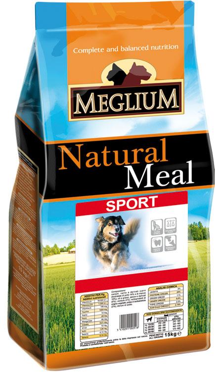 Корм сухой Meglium Sport для активных собак, 15 кг0120710Состав: кукуруза, дегидрированное мясо (32%), пшеница, куриный жир, сушеная мякоть цикория (2%), минеральные вещества. Пищевые добавки на кг: 3a672a Витамин A 7000 UI, Витамин D3 500 UI, 3a700 Витамин E 60 мг, E4 пентагидрат сульфата меди 23 мг, E1 карбонат железа 25 мг, E5 оксид марганца 31 мг, E6 моногидрат сульфата цинка 74 мг, E2 йодистый калий 0,6 мг, E8 селенит натрия 0,13 мг. Аналитические компоненты: влага 8%, сырой белок 28%, сырые масла и жиры 14%, сырая зола 8,8%, сырая клетчатка 2,6%.Энергетическая ценность: 3800 кКал/кг.