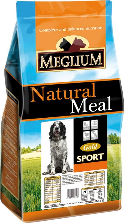 Корм сухой Meglium Sport Gold для активных собак, 15 кг63029Состав: дегидрированное мясо (40%, из которого куриного мяса 16% и говядины 12%), кукуруза, куриный жир, горошек, льняное семя, сушеная мякоть свеклы (2%), дрожжи, минеральные вещества. Пищевые добавки на кг: 3a672a Витамин A 13500 UI, Витамин D3 950 UI, 3a700 Витамин E 115 мг, E4 пентагидрат сульфата меди 47 мг, E1 карбонат железа 50 мг, E5 оксид марганца 62 мг, E6 моногидрат сульфата цинка 148 мг, E2 йодистый калий 1,2 мг, E8 селенит натрия 0,26 мг. Аналитические компоненты: влага 8%, сырой белок 29%, сырые масла и жиры 18%, сырая зола 8,1%, сырая клетчатка 2,6%.Энергетическая ценность: 4100 кКал/кг.