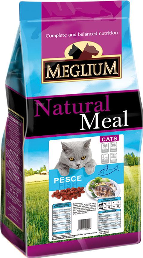 Корм сухой Meglium Adult для кошек, рыба, 15 кг0120710Состав: кукуруза, дегидрированное мясо (24%), рыбная мука (14%), пшеница, куриный жир, сушеная мякоть свеклы (2%), минеральные вещества. Пищевые добавки на кг: 3a672a Витамин A 18000 UI, Витамин D3 1200 UI, 3a700 Витамин E 145 мг, E4 пентагидрат сульфата меди 55 мг, E1 карбонат железа 58 мг, E5 оксид марганца 73 мг, E6 моногидрат сульфата цинка 173 мг, E2 йодистый калий 1,4 мг, E8 селенит натрия 0,31 мг, таурин 1000 мг. Аналитические компоненты: влага 8%, сырой белок 28%, сырые масла и жиры 11%, сырая зола 8,1%, сырая клетчатка 2,5%, жирные кислоты Омега-3 0,21%, жирные кислоты Омега-6 2,6%. Энергетическая ценность: 3500 кКал/кг.