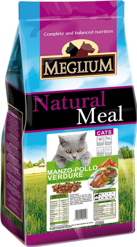Корм сухой Meglium Adult для кошек, говядина курица овощи, 15 кг0120710Состав: дегидрированное мясо (35%, из которого куриного мяса 14% и говядины 10%), кукуруза, пшеница, куриный жир, рыбная мука (5%), овощи (4%), сушеная мякоть свеклы (2%), минеральные вещества. Пищевые добавки на кг: Витамин A 18000 UI, Витамин D3 1200 UI, Витамин E 145 мг, E4 пентагидрат сульфата меди 55 мг, E1 карбонат железа 58 мг, E5 оксид марганца 73 мг, E6 моногидрат сульфата цинка 173 мг, E2 йодистый калий 1,4 мг, E8 селенит натрия 0,31 мг, таурин 1000 мг.Аналитические компоненты: влага 8%, сырой белок 28%, сырые масла и жиры 11%, сырая зола 8,1%, сырая клетчатка 2,5%, жирные кислоты Омега-3 0,19%, жирные кислоты Омега-6 2,6%.Энергетическая ценность: 3500 кКал/кг.