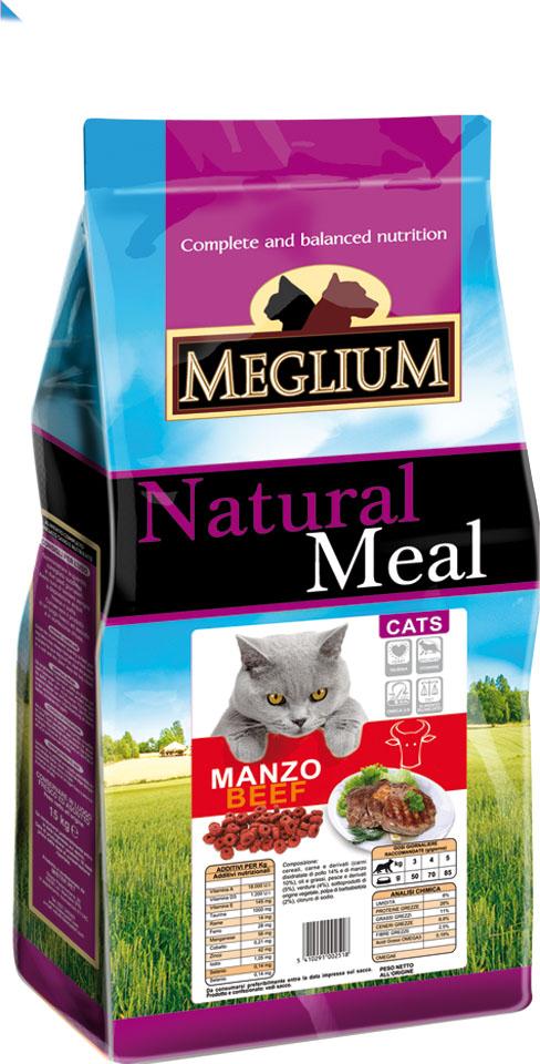 Корм сухой Meglium Adult для кошек, говядина, 15 кг0120710Meglium Cat Adult с говядиной - это полноценный, сбалансированный и очень вкусный корм для кошек. Говядина, красное мясо - это источник белка высокой биологической ценности с соответствующим набором аминокислот, рыба является источником полноценных белков и содержит большое количество Омега-3 жирных кислот- все это дополняет сбалансированная доза минералов, витаминов и таурина, благодаря чему Meglium Cat Adult с говядиной становится кормом, который удовлетворяет все пищевые потребности вашей кошки. Полноценный корм для взрослых кошек Состав: дегидрированное мясо (35%, из которого говядины 14%), кукуруза, пшеница, куриный жир, рыбная мука (5%), сушеная мякоть свеклы (2%), минеральные вещества.Пищевые добавки на кг: 3a672a Витамин A 18000 UI, Витамин D3 1200 UI, 3a700 Витамин E 145 мг, E4 пентагидрат сульфата меди 55 мг, E1 карбонат железа 58 мг, E5 оксид марганца 73 мг, E6 моногидрат сульфата цинка 173 мг, E2 йодистый калий 1,4 мг, E8 селенит натрия 0,31 мг, таурин 1000 мг.Аналитические компоненты: Влага 8%, сырой белок 28%, сырые масла и жиры 11%, сырая зола 8,1%, сырая клетчатка 2,5%, жирные кислоты Омега-3 0,19%, жирные кислоты Омега-6 2,6%.Рекомендуемый дневной рацион:Вес кошки 2 kg 3 kg 4 kg 5 kg 6 kg 7 kg 8 kg 9 kgДневная доза 30 g 45 g 55 g 70 g 80 g 95 g 105 g 115 gДневные дозы указаны приблизительно и могут варьироваться в зависимости от физической активности животного и от его пищевых потребностей.Инструкции по использованию: Хранить в сухом и прохладном месте. Корм можно давать как в сухом, так и в смоченном виде. Всегда оставляйте для животного свежую воду. Рекомендуется использовать до истечения срока годности. Новый продукт необходимо вводить постепенно. Номер партии и срок годности указаны на мешке.