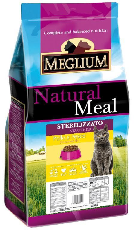 Корм сухой Meglium Neutered для стерилизованных кошек, курица рыба, 15 кг0120710Состав: дегидрированное мясо (34%, из которого куриного мяса 16% и говядины 10%), кукуруза, пшеница, куриный жир, рыбная мука (4%), сушеная мякоть свеклы (2%), минеральные вещества.Пищевые добавки на кг: 3a672a Витамин A 18000 UI, Витамин D3 1200 UI, 3a700 Витамин E 145 мг, E4 пентагидрат сульфата меди 55 мг, E1 карбонат железа 58 мг, E5 оксид марганца 73 мг, E6 моногидрат сульфата цинка 173 мг, E2 йодистый калий 1,4 мг, E8 селенит натрия 0,31 мг, таурин 1000 мг.Аналитические компоненты: влага 8%, сырой белок 28%, сырые масла и жиры 11%, сырая зола 7,9%, сырая клетчатка 3,8%, жирные кислоты Омега-3 0,19%, жирные кислоты Омега-6 2,6%. Энергетическая ценность: 3500 кКал/кг.