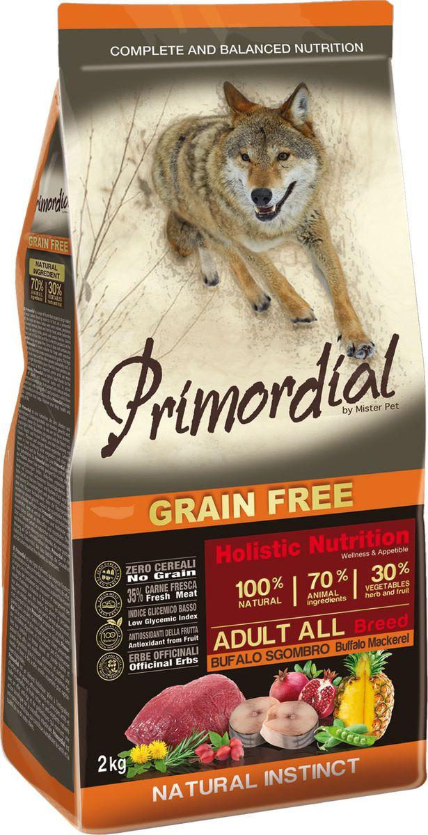 Корм сухой Primordial для собак, беззерновой, буйвол и макрель, 12 кг64786Primordial полноценный беззерновой сухой корм для взрослых собак класса холистик. Состав: свежая скумбрия (макрель) (35%), дегидрированное мясо буйвола (18%), горошек, картофель, куриный жир (9%), дегидрированная свинина (8%), боб обыкновенный, льняное семя (2%), сушеная мякоть свеклы, пивные дрожжи, мука из морских водорослей (0,3%), фруктолигосахариды FOS (0,2%), дрожжевые продукты (MOS 0,2%), юкка Шидигера (0,03%), порошок корня одуванчика (Taraxacum officinale W.) (0,02%), дегидрированный гранат (Punica granatum) (0,02%), дегидрированный стебель ананаса (Ananas sativus L.) (0,02%), дегидрированные плоды шиповника (Rosa Canina L., R. Pendulina L.) (0,002%), глюкозамина, хондроитина сульфат, экстракт розмарина.Пищевые добавки на кг: 3a672a Витамин A 21000 UI, Витамин D3 1400 UI, 3a700 Витамин E 180 мг, E4 пентагидрат сульфата меди 59 мг, E1 карбонат железа 62 мг, E5 оксид марганца 77 мг, E6 моногидрат сульфата цинка 186 мг, E2 йодистый калий 4,85 мг, E8 селенит натрия 0,35 мг.Аналитические компоненты: влага 8%, сырой белок 30%, сырые масла и жиры 18%, сырая зола 8,5%, сырая клетчатка 2,4%.