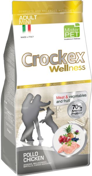 Корм сухой Crockex Wellness для собак мелких пород, с курицей и рисом, 2 кг0120710Этот полноценный рацион, дополненный функциональными ингредиентами, поддержит здоровье собаки. Сердцевина ананаса способствует правильному функционированию пищеварительной системы, гранат и малина являются превосходными источниками витамина С и богаты полифенолами, антиоксидантами и натуральными укрепляющими веществами с антивозрастным эффектом, которые служат для борьбы со свободными радикалами. Расторопша- лекарственное растение, содержащее силимарин и силибинин, вещества, известные своими противовоспалительными свойствами и эффективно защищающие печень. Пребиотики FOS и MOS помогают модулировать кишечную флору, улучшая таким образом усвоение питательных веществ. Использование риса в качестве первого источника углеводов и свежего мяса цыпленка (15%) обеспечивает высокую перевариваемость и отличную аппетитность рациона.Состав: обезвоженное мясо цыпленка (25%), рис (20%), кукуруза, свежее мясо цыпленка (15%), кукурузная мука, цыплячий жир, рыбная мука, льняное семя (2%), мякоть свеклы, пивные дрожжи, обезвоженные морские водоросли (0,24%), хлорид натрия, экстракт дрожжей (MOS0,16%), фруктоолигосахариды (FOS 0,1%), экстракт юкки (0,0265%), продукты, полученные в результате трансформации растений (расторопша- Silybum marianum L. 0,02%, обезвоженная сердцевина ананаса - Ananas sativus L. 0,02%, обезвоженный гранат - Punica granatum 0,02%, обезвоженная малина - Rubus idaeus L. 0,0006%).Добавки на 1 кг продукта - Пищевые добавки: Витамин A 17500 МЕ, Витамин D3 1200 МЕ, Витамин E 145 мг, E4 Сульфат меди пентагидрат47 мг, E1 Карбонат железа 76 мг, E5 Оксид марганца 92 мг, E6 Сульфат цинка моногидрат 192 мг, E2 Йодистый калий 4,6 мг, E8 Селенит натрия15,2 мг.Аналитический состав: влага 8%, сырой протеин26%, сырые масла и жиры 16%, сырая зола 6,3%,сырые волокна 2,1%, кальций 1,2%, фосфор 0,9%.Товар сертифицирован.