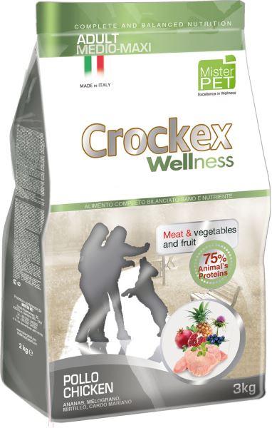 Корм сухой Crockex Wellness для собак средних и крупных пород, с курицей и рисом, 3 кг0120710Этот полноценный рацион, дополненный функциональными ингредиентами, поддержит здоровье собаки. Сердцевина ананаса способствует правильному функционированию пищеварительной системы, гранат и малина являются превосходными источниками витамина С и богаты полифенолами, антиоксидантами и натуральными укрепляющими веществами с антивозрастным эффектом, которые служат для борьбы со свободными радикалами. Расторопша- лекарственное растение, содержащее силимарин и силибинин, вещества, известные своими противовоспалительными свойствами и эффективно защищающие печень. Пребиотики FOS и MOS помогают модулировать кишечную флору, улучшая таким образом усвоение питательных веществ. Использование риса в качестве первого источника углеводов и свежего мяса цыпленка (15%) обеспечивает высокую перевариваемость и отличную аппетитность рациона.Состав: обезвоженное мясо цыпленка (24%), рис (22%), кукуруза, свежее мясо цыпленка (15%), кукурузная мука, цыплячий жир, рыбная мука, льняное семя (2%), мякоть свеклы, пивные дрожжи, обезвоженные морские водоросли (0,24%), хлорид натрия, экстракт дрожжей (MOS0,16%), фруктоолигосахариды (FOS 0,1%), экстракт юкки (0,0265%), расторопша (Silybum marianum L.) (0,02%), обезвоженная сердцевина ананаса (Ananas sativus L.) (0,02%), обезвоженный гранат (Punica granatum) (0,02%), обезвоженная малина (Rubus idaeus L.) (0,0006%).Добавки на 1 кг продукта - Пищевые добавки: Витамин A 17500 МЕ, Витамин D3 1200 МЕ, Витамин E 145 мг, E4 Сульфат меди пентагидрат47 мг, E1 Карбонат железа 76 мг, E5 Оксид марганца 92 мг, E6 Сульфат цинка моногидрат 192 мг, E2 Йодистый калий 4,6 мг, E8 Селенит натрия15,2 мг.Аналитический состав: влага 8%, сырой протеин25%, сырые масла и жиры 15%, сырая зола 6,2%,сырые волокна 2,1%, кальций 1,2%, фосфор 0,9%.Товар сертифицирован.
