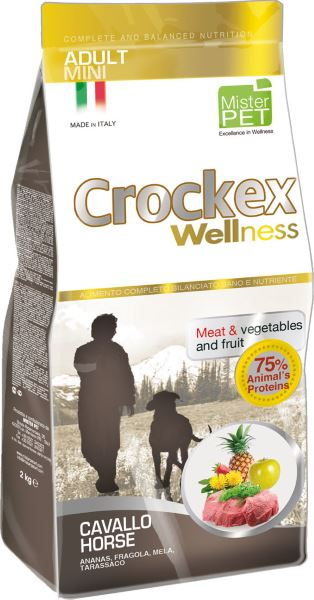Корм сухой Crockex Wellness для собак мелких пород, с кониной и рисом, 7,5 кг0120710Этот полноценный рацион, дополненный функциональными ингредиентами, поддержит здоровье собаки. Сердцевина ананаса и яблоко способствуют правильному функционированию пищеварительной системы, а клубника является натуральным антиоксидантом с антивозрастным эффектом и служит для борьбы со свободными радикалами. Одуванчик известен своими очищающими свойствами и оказывает благотворное воздействие на печень. Пребиотики FOS и MOS помогают модулировать кишечную флору, улучшая таким образом усвоение питательных веществ. Использование риса в качестве первого источника углеводов и свежей конины (15%) обеспечивает высокую перевариваемость и отличную аппетитность рациона.Состав: рис (18%), свежая конина (15%), обезвоженное мясо цыпленка (14%), кукурузная мука, кукуруза, обезвоженная свинина, картофель (8%), очищенный от оболочки зеленый горошек, льняное семя (2%), высушенная мякоть свеклы, пивные дрожжи, обезвоженные морские водоросли (0,24%), хлорид натрия, экстракт дрожжей (MOS 0,16%), фруктоолигосахариды (FOS 0,1%), экстракт юкки (0,0265%), порошок из корней одуванчика (Taraxacum officinale W.) (0,02%), обезвоженное яблоко (Malus pumila) (0,02%), обезвоженная сердцевина ананаса (Ananas sativus L.) (0,02%), обезвоженная клубника (Fragaria x ananassa) (0,0006%).Добавки на 1 кг продукта - Пищевые добавки: Витамин A 17500 МЕ, Витамин D3 1200 МЕ, Витамин E 145 мг, E4 Сульфат меди пентагидрат47 мг, E1 Карбонат железа 76 мг, E5 Оксидмарганца 92 мг, E6 Сульфат цинка моногидрат 192мг, E2 Йодистый калий 4,6 мг, E8 Селенит натрия15,2 мг.Аналитический состав: влага 8%, сырой протеин26%, сырые масла и жиры 16%, сырая зола 6,0%,сырые волокна 2,1%, кальций 1,2%, фосфор 0,9%.Товар сертифицирован.