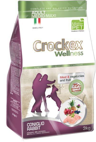 Корм сухой Crockex Wellness для собак средних и крупных пород, с кроликом и рисом, 12 кг0120710Этот полноценный рацион, дополненный функциональными ингредиентами, поддержит здоровье собаки. Сердцевина ананаса способствует правильному функционированию пищеварительной системы, гранат и малина являются превосходными источниками витамина С и богаты полифенолами, антиоксидантами и натуральными укрепляющими веществами с антивозрастным эффектом, которые служат для борьбы со свободными радикалами. Расторопша- лекарственное растение, содержащее силимарин и силибинин, вещества, известные своими противовоспалительными свойствами и эффективно защищающие печень. Пребиотики FOS и MOS помогают модулировать кишечную флору, улучшая таким образом усвоение питательных веществ. Использование риса в качестве первого источника углеводов и свежего мяса кролика (15%) обеспечивает высокую перевариваемость и отличную аппетитность рациона.Состав: обезвоженное мясо цыпленка (18%), рис (18%), кукуруза, свежее мясо кролика (15%), кукурузная мука, обезвоженное мясо кролика (12%), цыплячий жир, льняное семя (2%), высушенная мякоть свеклы, пивные дрожжи, обезвоженные морские водоросли (0,24%), хлорид натрия, экстракт дрожжей (MOS 0,16%), фруктоолигосахариды (FOS 0,1%), экстракт юкки (0,0265%), расторопша (Silybum marianum L.) (0,02%), обезвоженная сердцевина ананаса (Ananas sativus L.) (0,02%), обезвоженный гранат (Punica granatum) (0,02%), обезвоженная малина (Rubus idaeus L.) (0,0006%).Добавки на 1 кг продукта - Пищевые добавки: Витамин A 17500 МЕ, Витамин D3 1200 МЕ, Витамин E 145 мг, E4 Сульфат меди пентагидрат47 мг, E1 Карбонат железа 76 мг, E5 Оксид марганца 92 мг, E6 Сульфат цинка моногидрат 192 мг, E2 Йодистый калий 4,6 мг, E8 Селенит натрия15,2 мг.Аналитический состав: влага 8%, сырой протеин26%, сырые масла и жиры 15%, сырая зола 6,1%,сырые волокна 2,1%, кальций 1,25%, фосфор0,9%.Товар сертифицирован.
