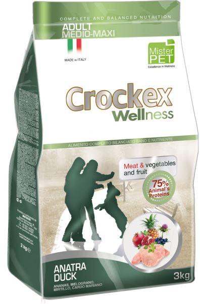 Корм сухой Crockex Wellness для собак средних и крупных пород, утка с рисом, 12 кг0120710Этот полноценный рацион, дополненный функциональными ингредиентами, поддержит здоровье собаки. Сердцевина ананаса способствует правильному функционированию пищеварительной системы, Гранат и Малина являются превосходными источниками витамина С и богаты полифенолами, антиоксидантами и натуральными укрепляющими веществами с антивозрастным эффектом, которые служат для борьбы со свободными радикалами. Расторопша- лекарственное растение, содержащее силимарин и силибинин, вещества, известные своими противовоспалительными свойствами и эффективно защищающие печень. Пребиотики FOS и MOS помогают модулировать кишечную флору, улучшая таким образом усвоение питательных веществ. Использование риса в качестве первого источника углеводов и свежего мяса утки (15%) обеспечивает высокую перевариваемость и отличную аппетитность рациона.Состав: обезвоженное мясо цыпленка (18%), рис (18%), кукуруза, свежее мясо утки (15%), обезвоженное мясо утки (12 %), кукурузная мука, цыплячий жир, льняное семя (2%), высушенная мякоть свеклы, пивные дрожжи, обезвоженные морские водоросли (0,24%), хлорид натрия, экстракт дрожжей (MOS 0,16%), фруктоолигосахариды (FOS 0,1%), экстракт юкки (0,0265%), расторопша (Silybum marianum L.) (0,02%), обезвоженная сердцевина ананаса (Ananas sativus L.) (0,02%), обезвоженный гранат (Punica granatum) (0,02%), обезвоженная малина (Rubus idaeus L.) (0,0006%).Добавки на 1 кг продукта - Пищевые добавки: Витамин A 17500 МЕ, Витамин D3 1200 МЕ, Витамин E 145 мг, E4 Сульфат меди пентагидрат47 мг, E1 Карбонат железа 76 мг, E5 Оксид марганца 92 мг, E6 Сульфат цинка моногидрат 192 мг, E2 Йодистый калий 4,6 мг, E8 Селенит натрия15,2 мг.Аналитический состав: Влага 8%, сырой протеин25%, сырые масла и жиры 15%, сырая зола 6,2%,сырые волокна 2,1%, кальций 1,2%, фосфор 0,9%