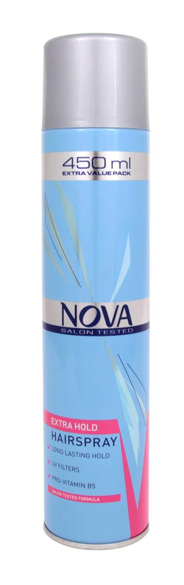 Лак сильной фиксации Nova 450 мл (красный)7209392000Современные компоненты,входящие в состав лака с провитомином B5,обеспечивают хорошую фиксацию и блеск без видимых следов утяжеления и склеивания волос.Лак фиксирует самые сложные формы и одновременно способствует восстановлению и укреплению поврежденной структуры волос.Питательные добавки придают волосам роскошный,шелковый блеск.