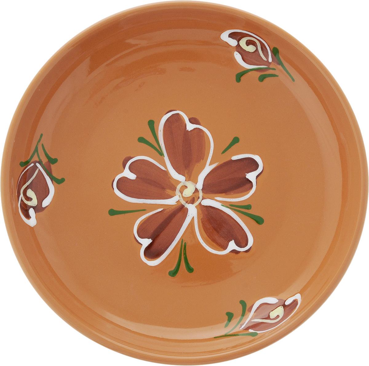 Тарелка Борисовская керамика Cтандарт. Цветок, цвет: светло-коричневый, диаметр 18 см115510Тарелка Борисовская керамика Cтандарт выполнена из высококачественной керамики с покрытием пищевой глазурью. Изделие отлично подходит для подачи вторых блюд, сервировки нарезок, закусок, овощей и фруктов. Такая тарелка отлично подойдет для повседневного использования. Она прекрасно впишется в интерьер вашей кухни. Посуда термостойкая, можно использовать в духовке и в микроволновой печи. Диаметр тарелки (по верхнему краю): 18 см. Высота стенки: 3 см.