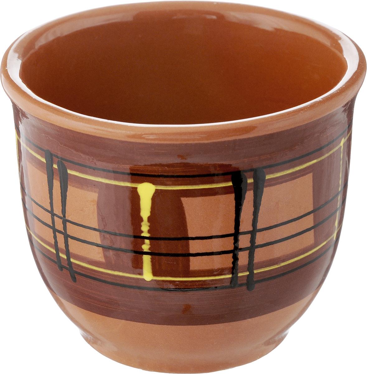 Стакан Борисовская керамика Cтандарт. Полоски, цвет: коричневый, 300 млVT-1520(SR)Стакан Борисовская керамика Cтандарт выполнен из высококачественной глазурованной керамики. Керамика не только сохраняет тепло, она сохраняет и прохладу. Напиток в таком стакане дольше будет холодным. Или горячим, это уже как вы захотите. Яркий дизайн придется по вкусу и ценителям классики, и тем, кто предпочитает утонченность и изысканность. Посуда термостойкая. Можно использовать в духовке и микроволновой печи.Диаметр (по верхнему краю): 10,5 см.Высота стакана: 8,5 см.