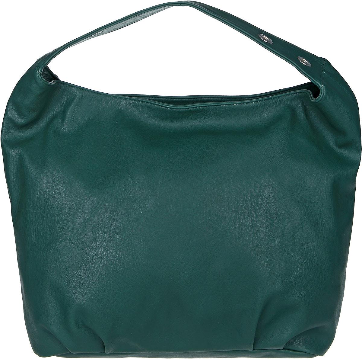 Сумка женская Медведково, цвет: темно-зеленый. 17с3246-к14L39845800Массивная женская сумка Медведково выполнена из искусственной кожи. Модель с одним отделением. Внутри имеется два накладных кармана и прорезной карман на молнии. Задняя стенка дополнена прорезным карманом на молнии. Сумка оснащена ручкой с люверсами.