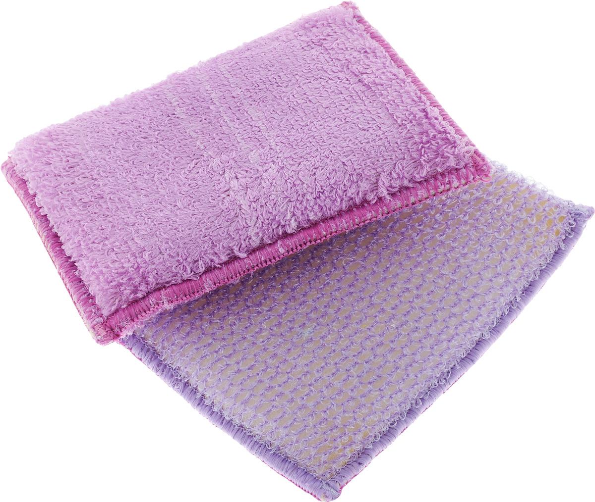 Набор губок для мытья посуды Золушка, цвет: сиреневый, 10 х 14 х 2 см, 2 шт391602Губками из бамбукового волокна можно не только мыть посуду, но и использоватьих для уборки. Одна губка с одной стороны имеет жесткую структуру для чисткисильнозагрязненных поверхностей, с другой - более мягкую. Вторая губкаполностью мягкая. Для мытья посуды можно использовать только чистую воду, без добавлениямоющих средств.В упаковке 2 губки.