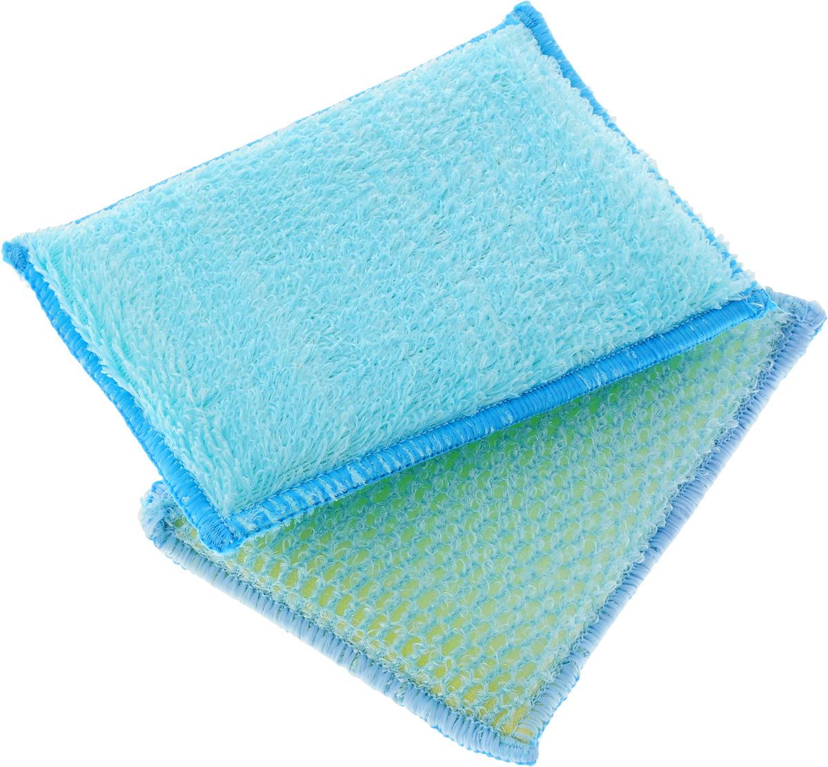 Набор губок для мытья посуды Золушка, цвет: голубой, 10 х 14 х 2 см, 2 шт787502Губками из бамбукового волокна можно не только мыть посуду, но и использоватьих для уборки. Одна губка с одной стороны имеет жесткую структуру для чисткисильнозагрязненных поверхностей, с другой - более мягкую. Вторая губкаполностью мягкая. Для мытья посуды можно использовать только чистую воду, без добавлениямоющих средств.В упаковке 2 губки.
