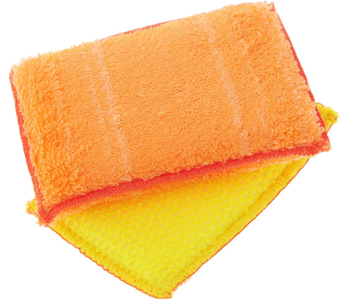 Набор губок для мытья посуды Золушка, цвет: оранжевый, 14 х 10 х 2 см, 2 шт787502Губками из бамбукового волокна можно не только мыть посуду, но и использовать их для уборки. Одна губка с одной стороны имеет жесткую структуру для чистки сильнозагрязненных поверхностей, с другой - более мягкую. Вторая губка полностью мягкая. Для мытья посуды можно использовать только чистую воду, без добавления моющих средств.В упаковке 2 губки.