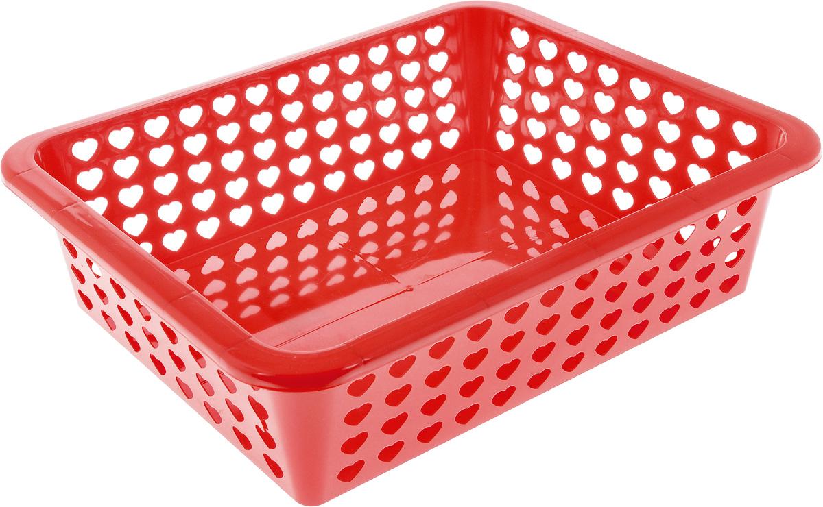 Корзина Альтернатива Вдохновение, цвет: красный, 39,5 х 29,7 х 12 смБрелок для ключейКорзина Альтернатива Вдохновение выполнена из пластика и оформлена перфорацией в виде сердечек. Изделие имеет сплошное дно и жесткую кромку. Корзина предназначена для хранения мелочей в ванной, на кухне, на даче или в гараже. Позволяет хранить мелкие вещи, исключая возможность их потери.