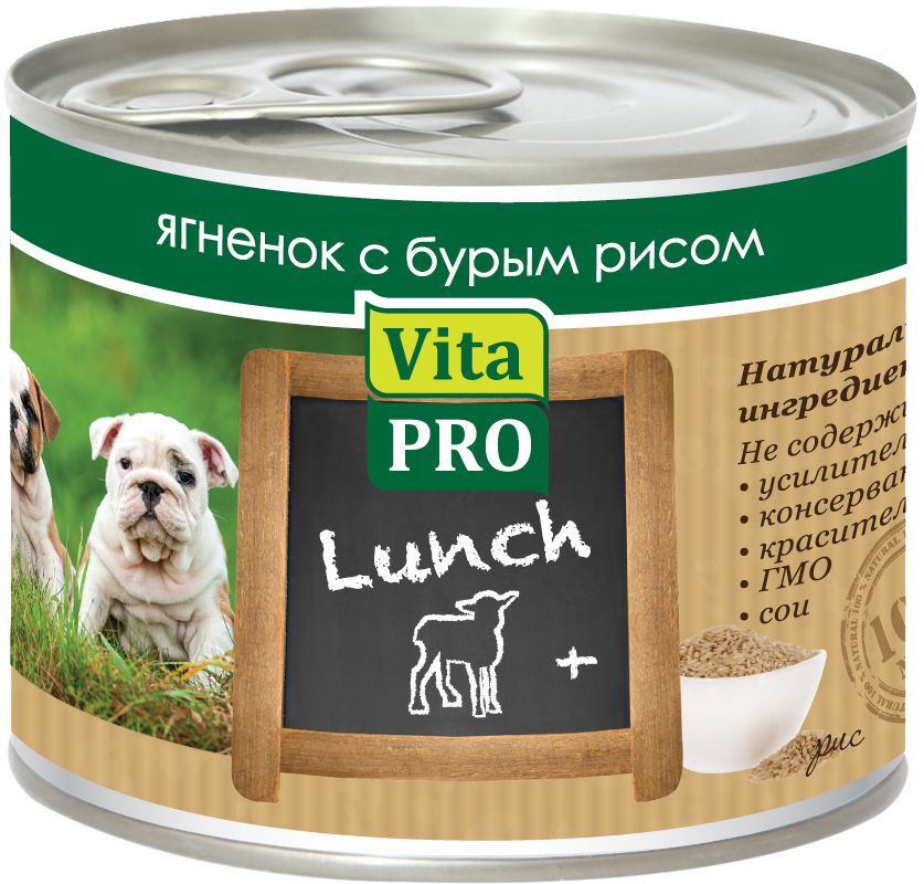 Консервы Vita ProLunch для щенков, ягненок и рис, 200 г0120710Корм, сочетающий высококачественное мясо с овощными и злаковыми добавками и обеспечивающий полноценный ежедневный рацион. С добавлением кальция для растущего арганизма. Без консервантов, красителей, усилителей вкуса.