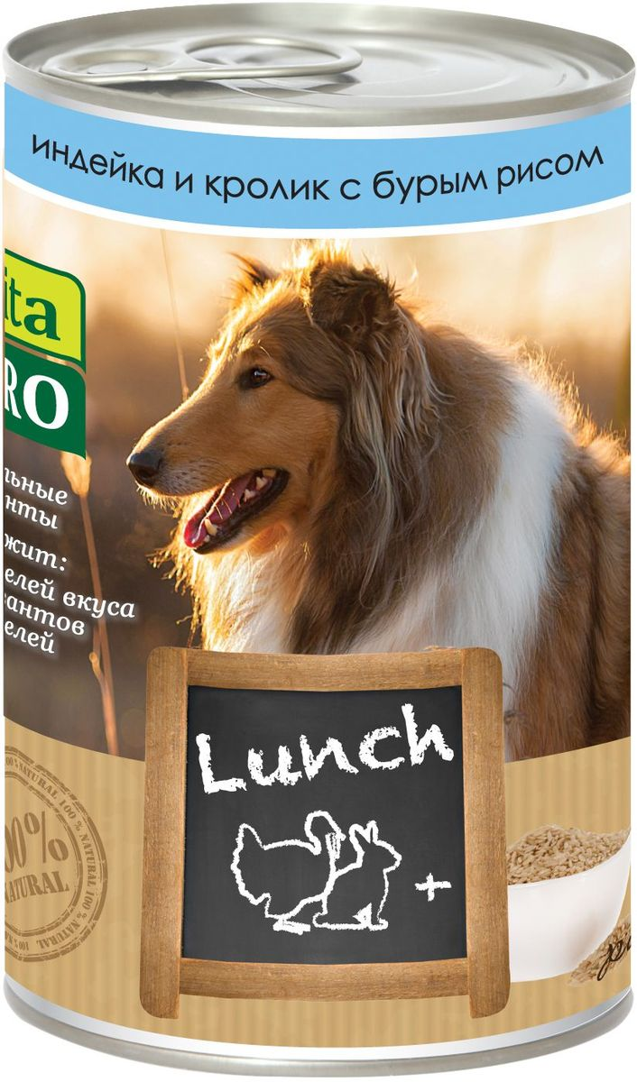 Консервы для собак Vita Pro Lunch, с индейкой, кроликом и рисом, 400 г0120710Корм, сочетающий высококачественное мясо с овощными и злаковыми добавками и обеспечивающий полноценный ежедневный рацион. Без консервантов, красителей, усилителей вкуса. Состав: 34% индейка, 34% кролик 28,9% бульон, 3% рис, 1% минералы, 0,1% сафлоровое масло. Добавки на 1 кг продукта: витамин Д3 - 200 МЕ, цинк - 15 мг, марганец - 3 мг, йод - 0,75 мг. Товар сертифицирован.