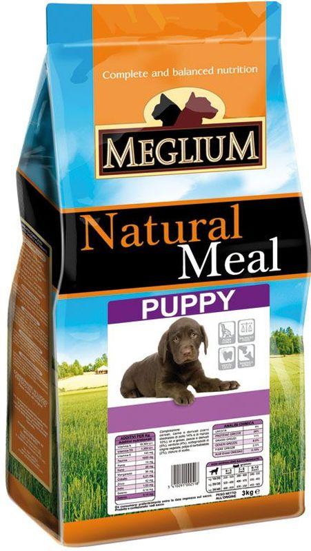 Корм сухой Meglium для щенков, 3 кг74032Сбалансированный корм, обеспечивающий здоровый рост и развитие щенка. Содержит высокопитательный животный белок, жизненноважные витамины и минералы. Обогащен Омега-3 жирными кислотами. Для щенков от 2 до 13 месяцев.