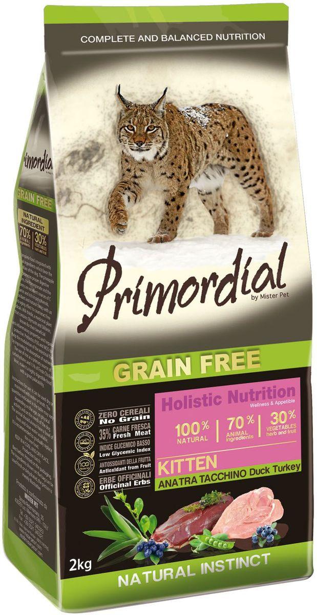 Корм сухой Primordial для котят, с уткой и индейкой, 2 кг74052Беззерновой корм класса холистик. Специально отобранные виды мяса и рыбы поддерживают низкий гликемический индекс, гарантируют высокую аппетитность и перевариваемость корма.