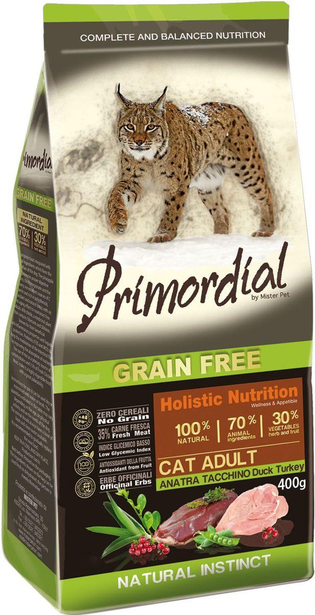 Корм сухой Primordial для кошек, беззерновой, утка и индейка, 400 г12171996Беззерновой корм класса холистик. Специально отобранные виды мяса и рыбы поддерживают низкий гликемический индекс, гарантируют высокую аппетитность и перевариваемость корма.