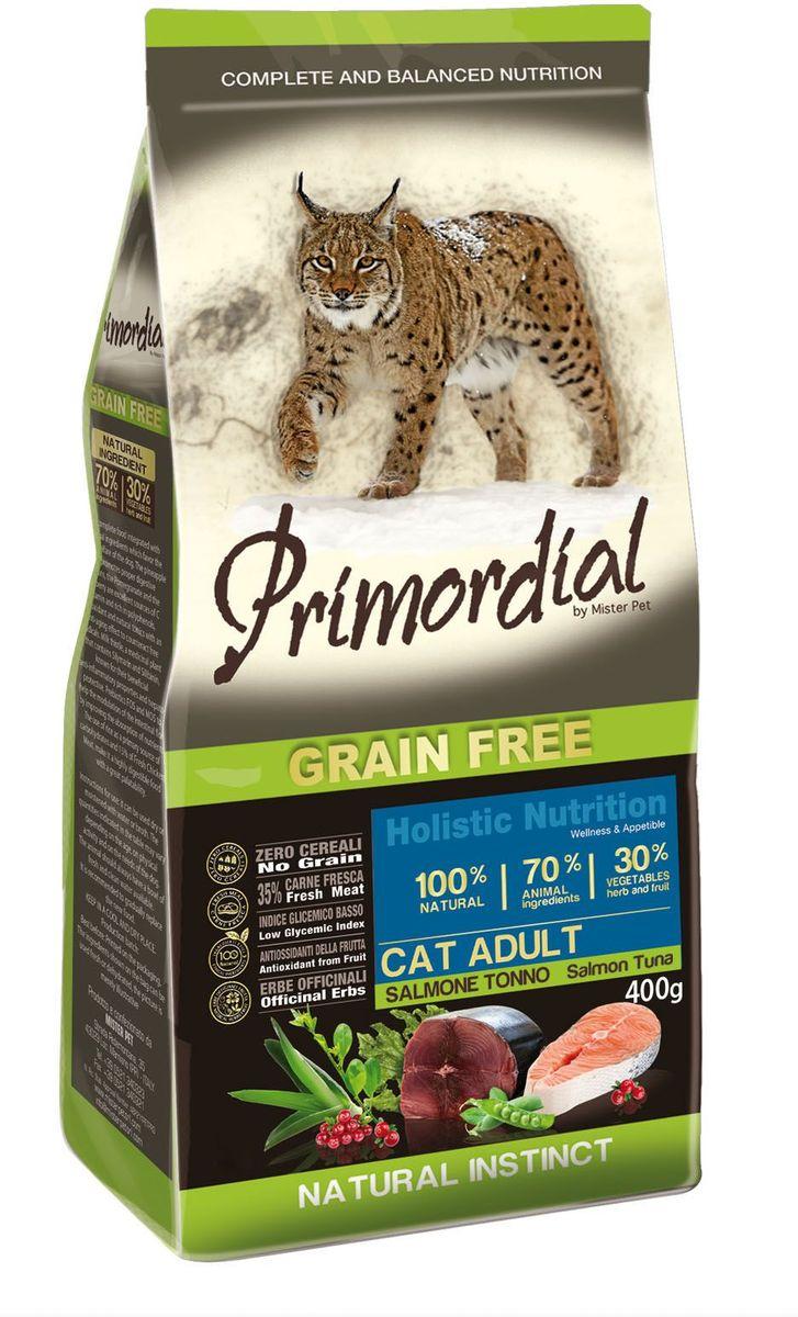 Корм сухой Primordial для кошек, беззерновой, лосось и тунец, 400 г0120710Беззерновой корм класса холистик. Специально отобранные виды мяса и рыбы поддерживают низкий гликемический индекс, гарантируют высокую аппетитность и перевариваемость корма.