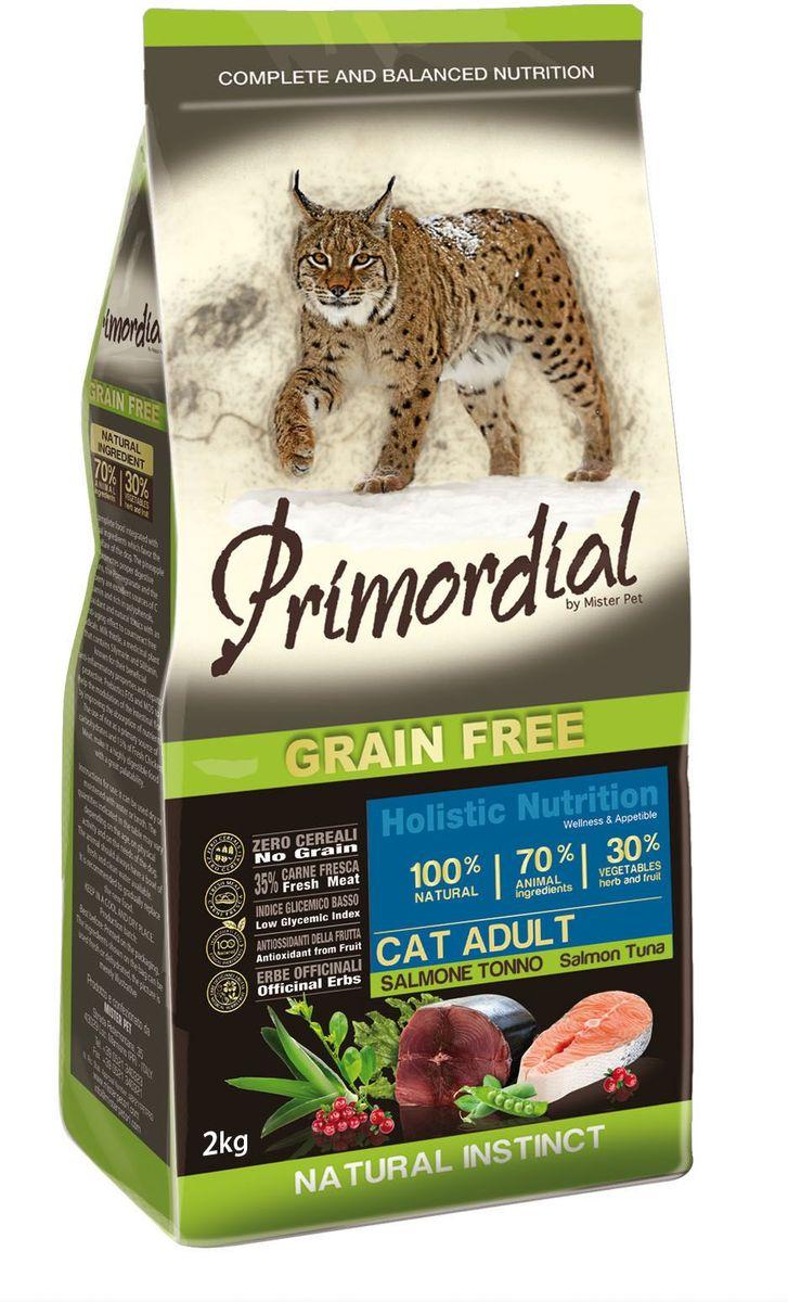 Корм сухой Primordial для кошек, беззерновой, лосось и тунец, 2 кг0120710Беззерновой корм класса холистик. Специально отобранные виды мяса и рыбы поддерживают низкий гликемический индекс, гарантируют высокую аппетитность и перевариваемость корма.