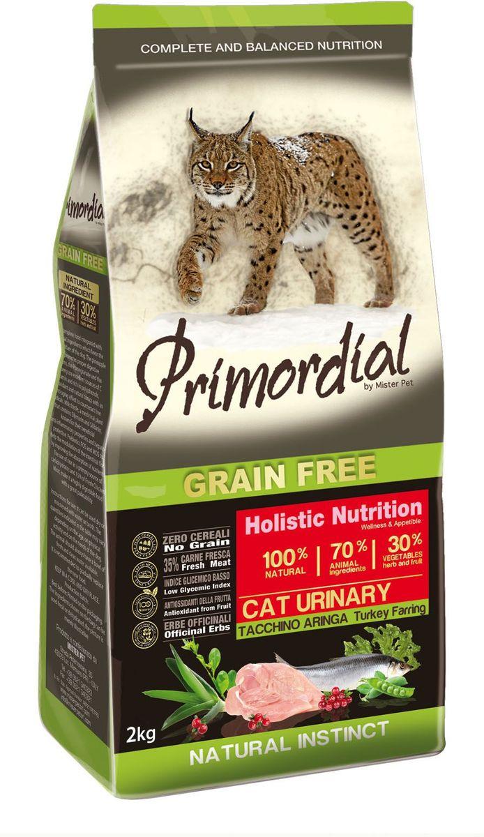 Корм сухой Primordial для кошек с мочекаменной болезнью, беззерновой, индейка и сельдь, 2 кг0120710Беззерновой корм класса холистик. Специально отобранные виды мяса и рыбы поддерживают низкий гликемический индекс, гарантируют высокую аппетитность и перевариваемость корма.
