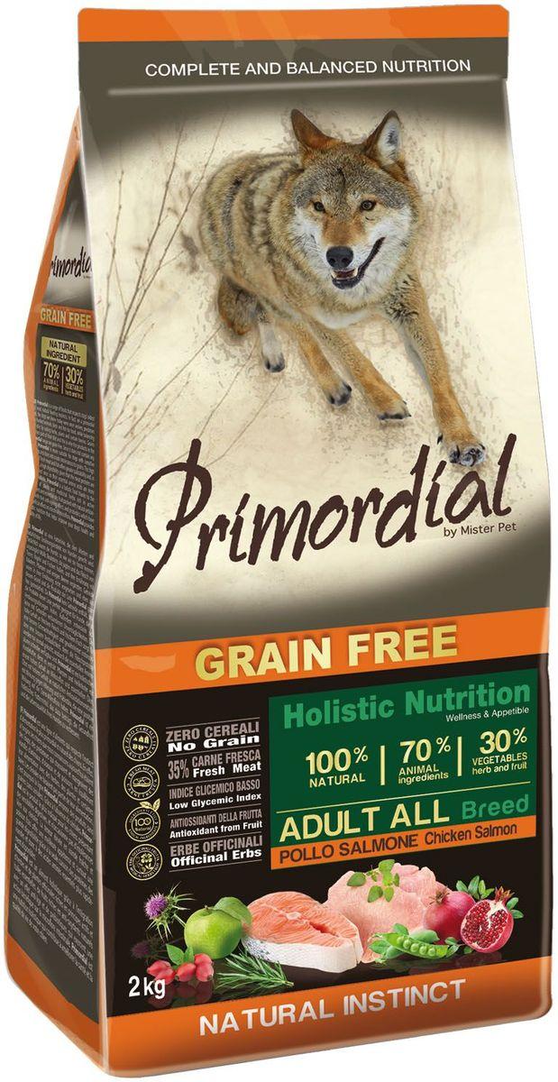 Корм сухой Primordial для собак, беззерновой, курица и лосось, 2 кг0120710Беззерновой корм класса холистик. Специально отобранные виды мяса и рыбы поддерживают низкий гликемический индекс,гарантируют высокую аппетитность и перевариемость корма.