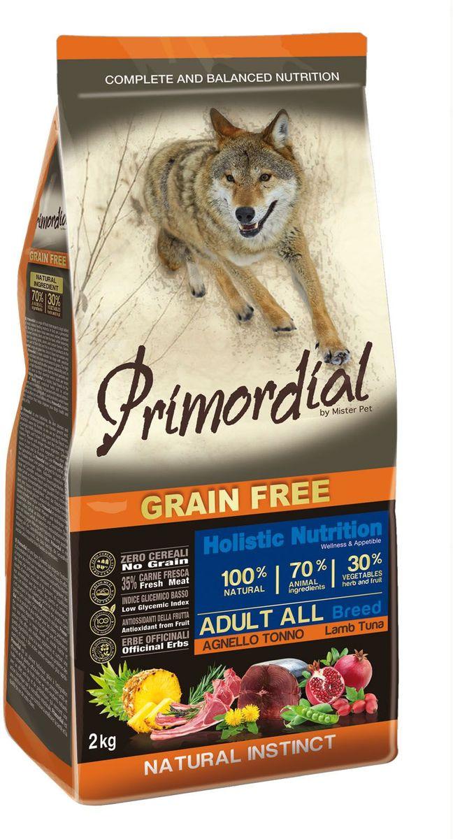 Корм сухой Primordial для собак, беззерновой, тунец и ягненок, 2 кг0120710Беззерновой корм класса холистик. Специально отобранные виды мяса и рыбы поддерживают низкий гликемический индекс,гарантируют высокую аппетитность и перевариемость корма.