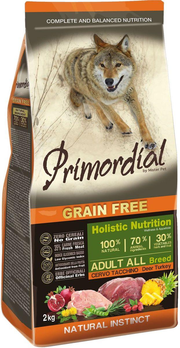Корм сухой Primordial для собак, беззерновой, оленина и индейка, 2 кг0120710Беззерновой корм класса холистик. Специально отобранные виды мяса и рыбы поддерживают низкий гликемический индекс,гарантируют высокую аппетитность и перевариемость корма.